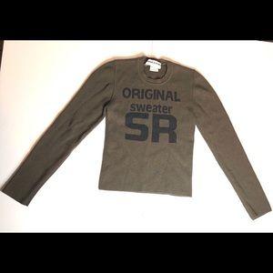 sonia rykiel wool khaki sweater with logo